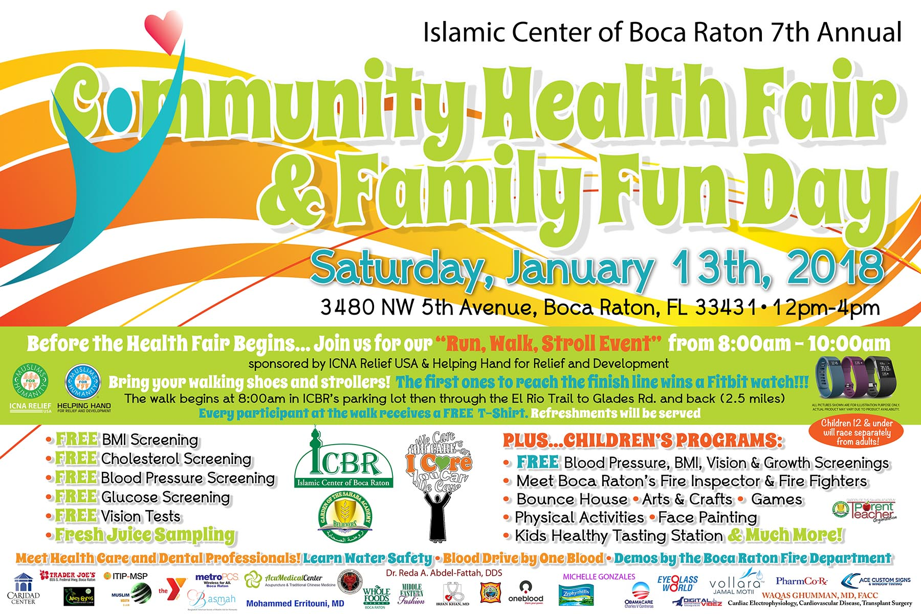 Health fairs islamic center of boca raton faith into action 2018 health fair save the date reheart